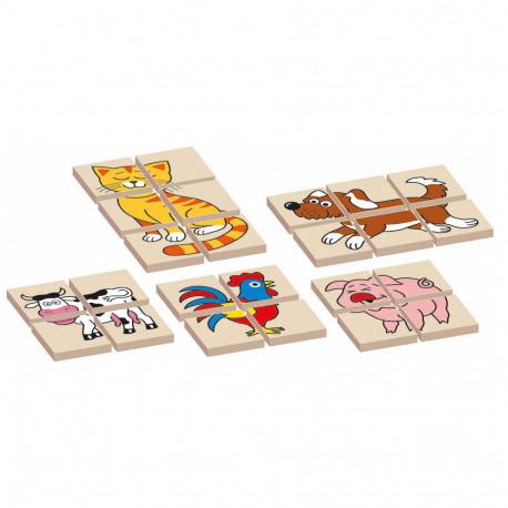 Dřevěná skládanka/puzzle - zvířátka