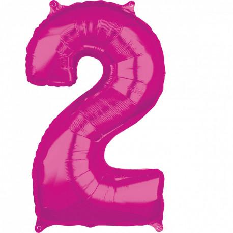 Fóliový balónek číslo 2 - růžový, 66 cm
