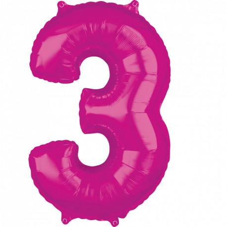 Fóliový balónek číslo 3 - růžový, 66 cm