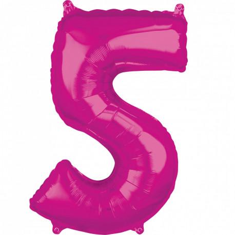 Fóliový balónek číslo 5 - růžový, 66 cm