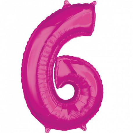 Fóliový balónek číslo 6 - růžový, 66 cm