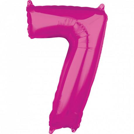 Fóliový balónek číslo 7 - růžový, 66 cm