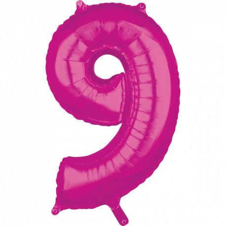 Fóliový balónek číslo 9 - růžový, 66 cm