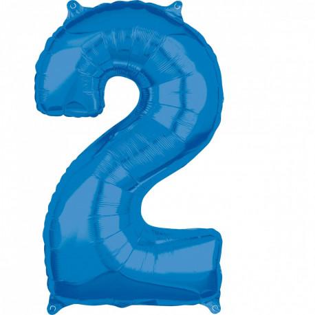 Fóliový balónek číslo 2 - modrý, 66 cm