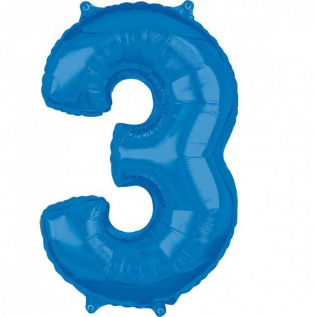 Fóliový balónek číslo 3 - modrý, 66 cm