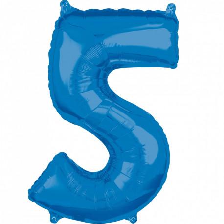 Fóliový balónek číslo 5 - modrý, 66 cm