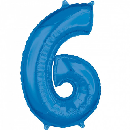 Fóliový balónek číslo 6 - modrý, 66 cm