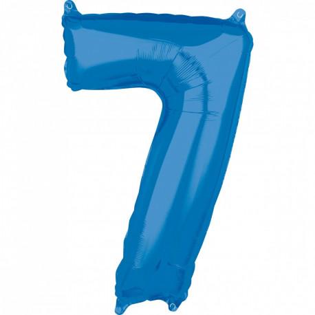Fóliový balónek číslo 7 - modrý, 66 cm