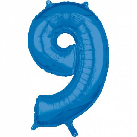 Fóliový balónek číslo 9 - modrý, 66 cm