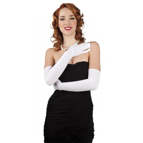Rukavičky - bílé, dlouhé