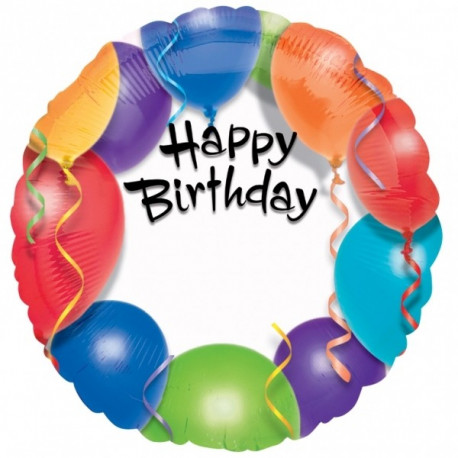 Fóliový balónek - šťastné narozeniny, 45 cm