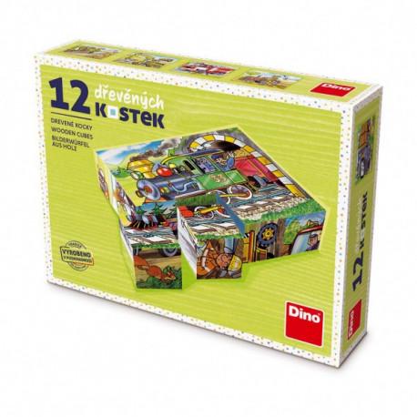 Dřevěné obrázkové kostky - Dopravní prostředky, 12 kusů
