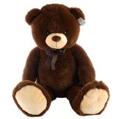 Medvěd sedící - tmavý, plyšový