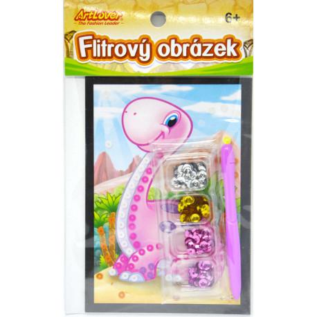 Mini flitrový obrázek - Dino