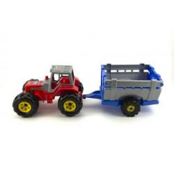 Traktor s přívěsem - plastový, 51 cm