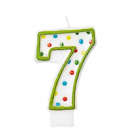 Dortová svíčka číslo 7 tečky