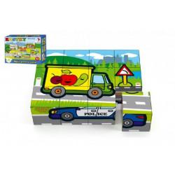 Dřevěné obrázkové kostky - Moje první auta