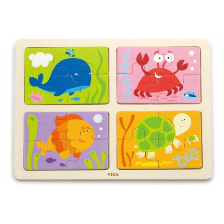 Dřevěné puzzle 4 v 1 - Mořská zvířata