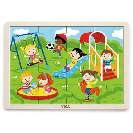 Dřevěné puzzle - Hřiště, 16 dílků