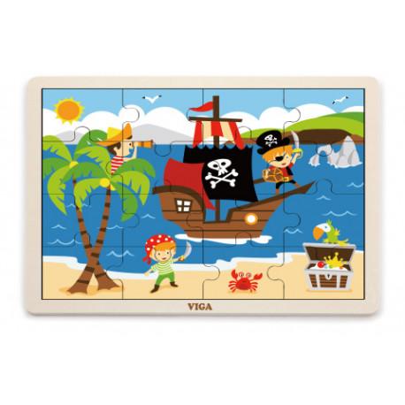 Dřevěné puzzle - Piráti, 16 dílků
