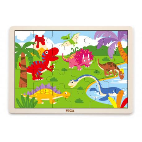 Dřevěné puzzle - Dinosauři, 16 dílků