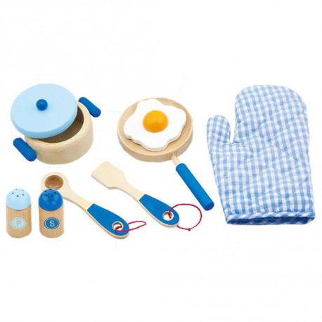 Dřevěná sada nádobí - modrá