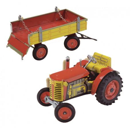 Traktor zetor s valníkem červený  - plech
