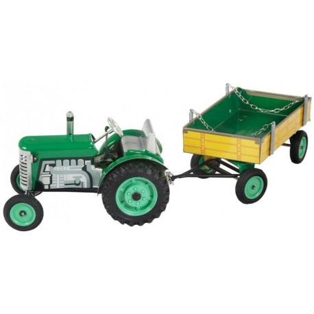 Traktor Zetor s valníkem zelený  - plech
