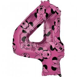 Fóliový balónek č. 4 - Minnie, růžový, 66 cm