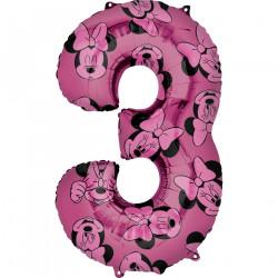 Fóliový balónek č. 3 - Minnie, růžový, 66 cm