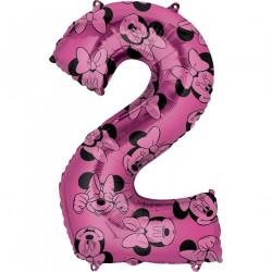 Fóliový balónek č. 2 - Minnie, růžový, 66 cm