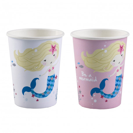 Kelímky Mořská Víla - papírové, 250ml, růžové