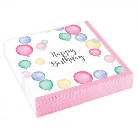Ubrousky HAPPY BIRTHDAY - papírové, 20 kusů