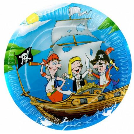 Talířky Piráti - papírové, 6 kusů