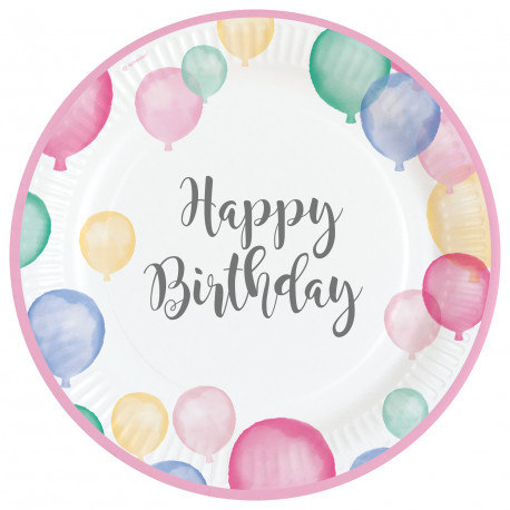 Talířky Happy Birthday - papírové, 8 kusů