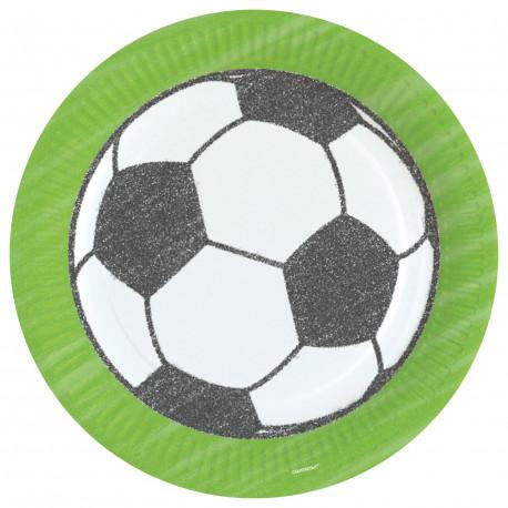 Talířky Fotbalový míč - papírové, 8 kusů