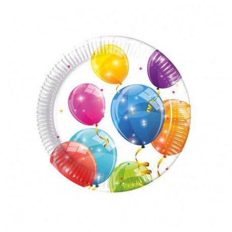 Talířky Balonky - papírové, 8 kusů