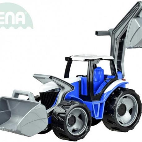 Traktor se lžící a bagrem - modrý