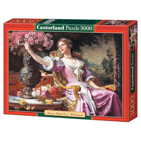 Puzzle Dáma ve fialových šatech - 3000 dílků