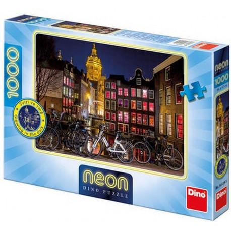 Puzzle Noční Amsterodam, Neon - 1000 dílků