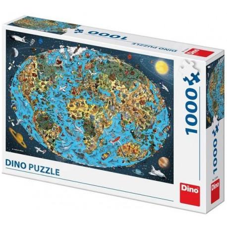 Puzzle Kreslená mapa světa - 1000 dílků