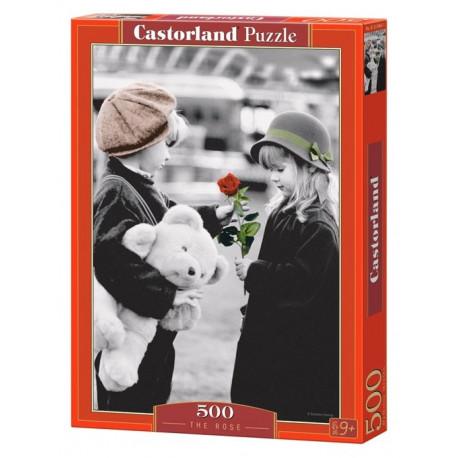 Puzzle Černobílé děti a růže - 500 dílků