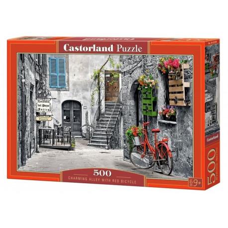 Puzzle Italská ulička/Charming Alley with red bicycle - 500 dílků