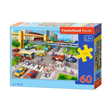 Puzzle City Rush/Vytížená křižovatka - 60 dílků