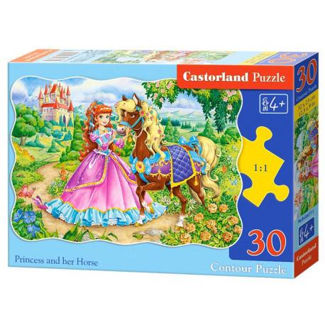 Puzzle Princezna a její kůň - 30 dílků, tvarované