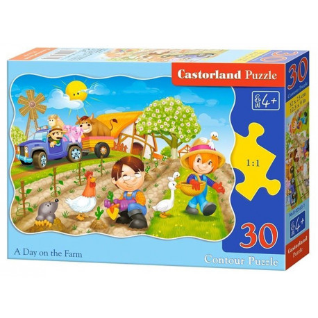 Puzzle Den na farmě - 30 dílků, tvarované