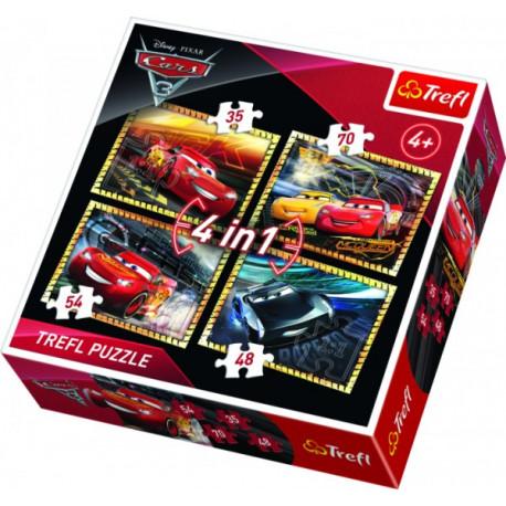 Puzzle - Cars/Auta, 4 v 1