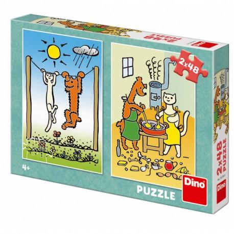 Puzzle - Pejsek a kočička, 2 x 48 dílků