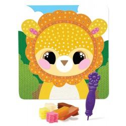 Kreativní obrázek s textilem - lev