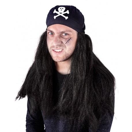 Paruka pirát černá se šátkem